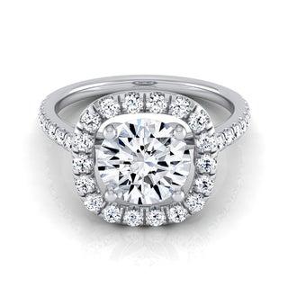 14k White Gold 1 1/2ct TDW Diamond IGI-certified Pave Halo Frame Engagement Ring ( H-I, VS1-VS2)