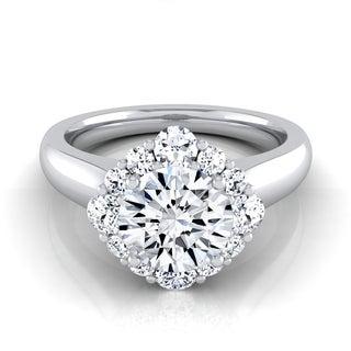 14k White Gold 1 1/2ct TDW Round Diamond Compass Point Halo Engagement Ring (H-I, VS1-VS2)