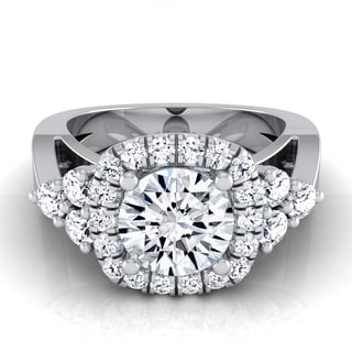 14k White Gold 1 5/8ct TDW Diamond IGI-certified Square Halo Engagement Ring (H-I, VS1-VS2)
