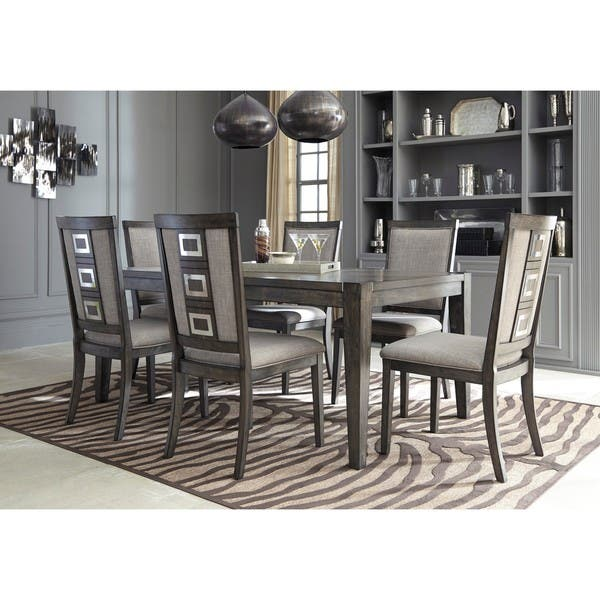 Signature Design By Ashley Chadoni Gray Dining Room Table With Chairs Set