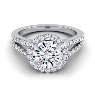 14k White Gold IGI-certified 1 1/2ct TDW Round Diamond Engagement Ring with Split Pave Shank