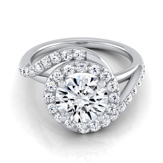 14k White Gold 1 1/2ct TDW Round Diamond Pave Wave Engagement Ring (H-I, VS1-VS2)