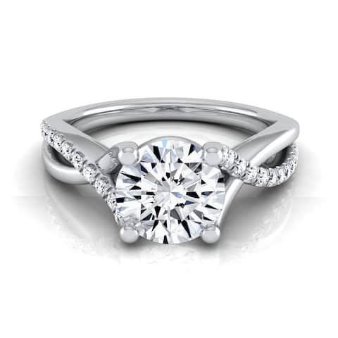 14k White Gold 1 1/6ct TDW Diamond IGI-certified Engagement Ring with Pave Infinity Shank
