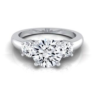 14k White Gold 1 1/4ct TDW Diamond IGI-certified 3-Stone Engagement Ring ( H-I, VS1-VS2)