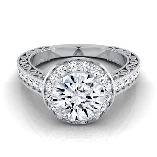 14k White Gold 1 1/2ct TDW Diamond IGI-certified Halo Engagement Ring With Scroll Design Shank
