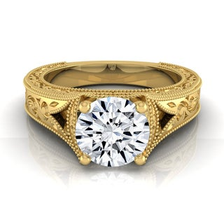 14k Yellow Gold IGI-certified 1ct TDW Round Brilliant Antique Inspired Engraved Diamond Engagement Ring (H-I,VS1-VS2)