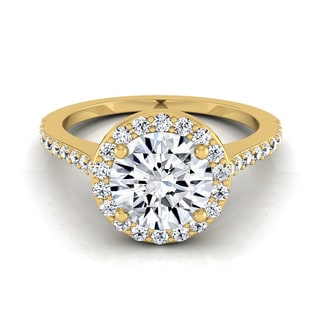 14k Yellow Gold IGI-certified 1 1/3ct TDW Round Diamond Halo Engagement Ring with Pave Shank (H-I,VS1-VS2)