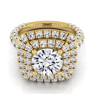 14k Yellow Gold 3 1/6ct TDW Round Double Halo Diamond Engagement Ring