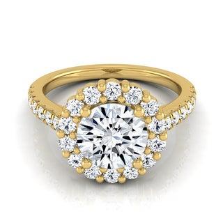 14k Yellow Gold Certified 1 5/ 8ct Round Diamond Halo Engagement Ring