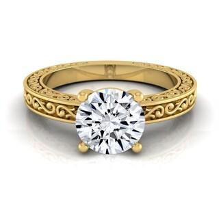 14k Yellow Gold IGI-certified 1ct TDW Round Diamond Solitaire Engagement Ring (H-I, VS1-VS2)