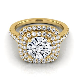 14k Yellow Gold 1 1/2ct TDW Diamond IGI-certified Double Square Halo Engagement Ring With Pave Shank ( H-I, VS1-VS2)