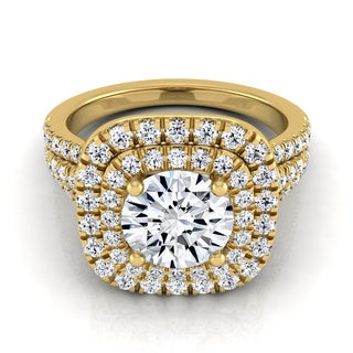 14k Yellow Gold 1 4/5ct TDW Diamond Double Halo Engagement Ring