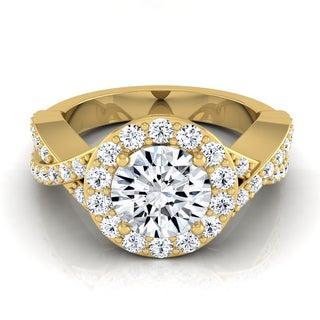 14k Yellow Gold 1 3/4ct TDW Diamond IGI-certified Halo Engagement Ring With Infinity Shank (H-I, VS1-VS2)