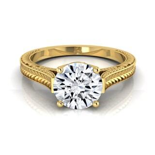 14k Yellow Gold IGI-certified 1ct TDW Round Engraved Diamond Engagement Ring With Milgrain Detail (H-I,VS1-VS2)