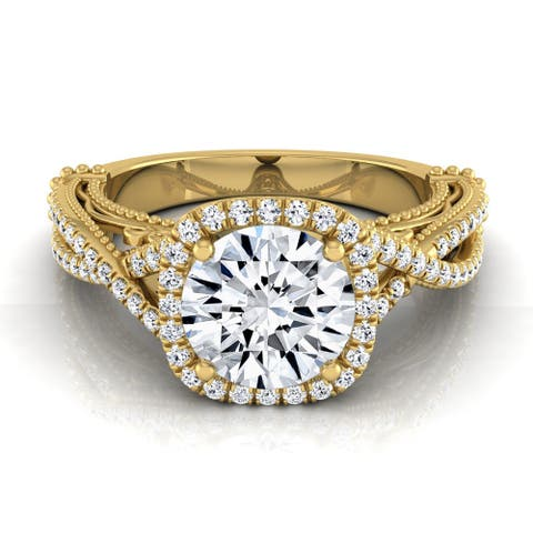 14k Yellow Gold 1 1/3ct TDW Round Diamond Halo Infinity Engagement Ring