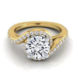 14k Yellow Gold 1 3/8ct TDW Round Diamond Pave Wave Engagement Ring (H-I, VS1-VS2)
