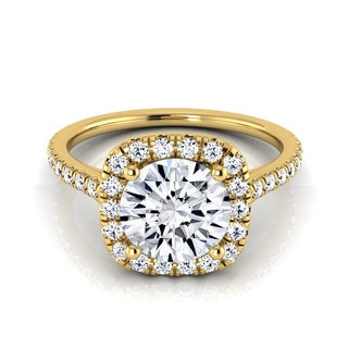 14k Yellow Gold 1 1/3ct TDW Diamond IGI-certified Halo Engagement Ring With Pave Shank ( H-I, VS1-VS2)