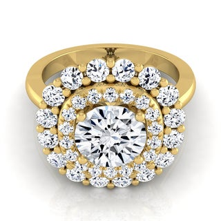 14k Yellow Gold 2ct TDW Round Diamond Double Halo Engagement Ring (H-I, VS1-VS2)