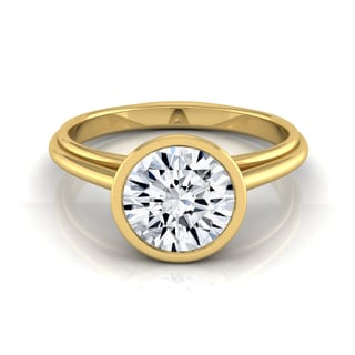 14k Yellow Gold 1ct TDW Diamond IGI-certified Bezel Solitaire Engagement Ring (H-I, VS1-VS2)