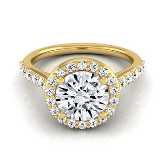 14k Yellow Gold 1 1/2ct TDW Diamond IGI-certified Halo Engagement Ring With Pave Shank ( H-I, VS1-VS2)