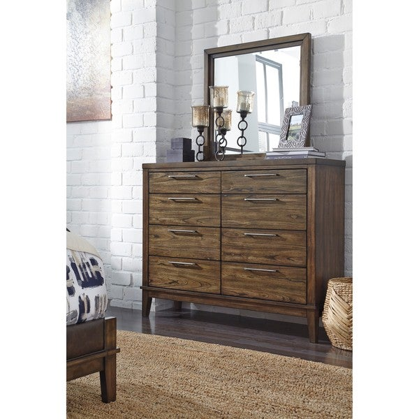 Shop signature design by ashley ralene brown dresser with mirror free shipping today for Ashley furniture ralene bedroom set