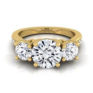 14k Yellow Gold IGI-certified 1 7/8ct TDW Round 3-stone Engagement Ring with Diamond Pave Shank
