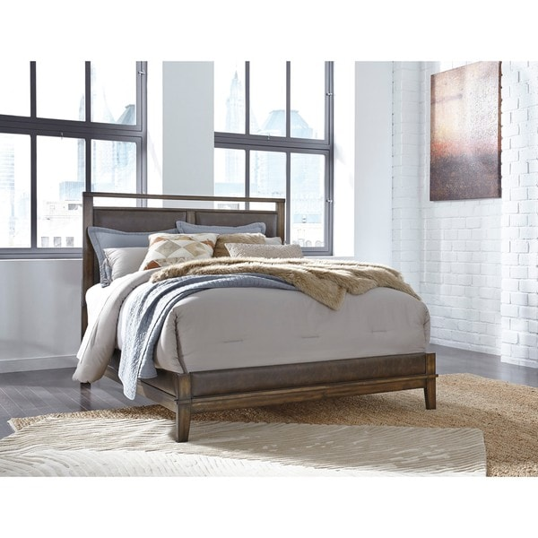 Shop signature design by ashley ralene brown queen panel bed free shipping today overstock for Ashley furniture ralene bedroom set