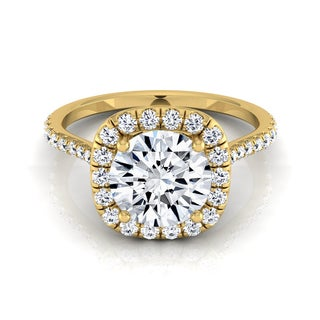 14k Yellow Gold 1 2/5ct TDW Diamond IGI-certified Halo Engagement Ring With Pave Shank