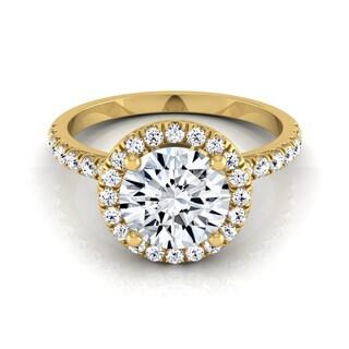 14k Yellow Gold Certified Round Diamond Halo Engagement Ring