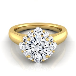14k Yellow Gold 1 1/2ct TDW Round Diamond Compass Point Halo Engagement Ring (H-I, VS1-VS2)