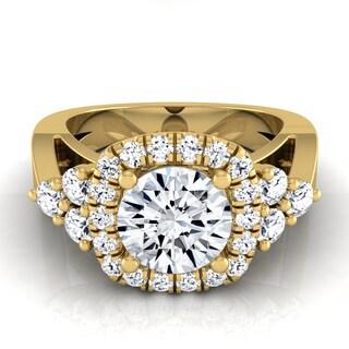 14k Yellow Gold IGI-certified 1 2/3ct TDW Round Diamond Square Halo Engagement Ring (H-I,VS1-VS2)