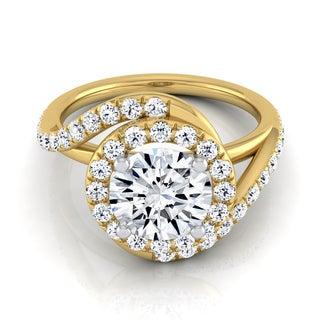 14k Yellow Gold 1 1/2ct TDW Round Diamond Pave Wave Engagement Ring (H-I, VS1-VS2)