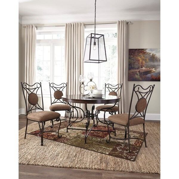 Signature Design By Ashley Leystone Brown Dining Table With Four Chairs Set