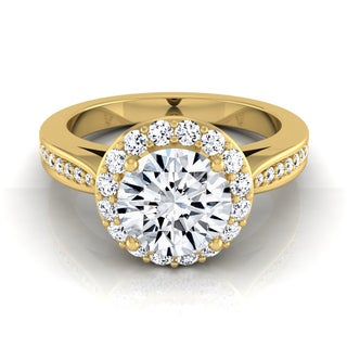 14k Yellow Gold 1 2/5ct TDW Diamond IGI-certified Halo Engagement Ring With Pave Shank ( H-I, VS1-VS2)
