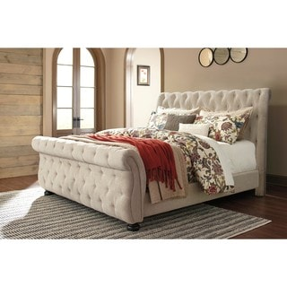 signature design by ashley bolanburg linen queen upholstered bed