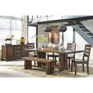 Signature Design by Ashley Chadoni Dark Brown Dining Room Table with Four Chairs and Bench Set