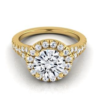 14k Yellow Gold IGI-certified 1 1/2ct TDW Round Diamond Halo Engagement Ring with Semi-split Shank (H-I,VS1-VS2)