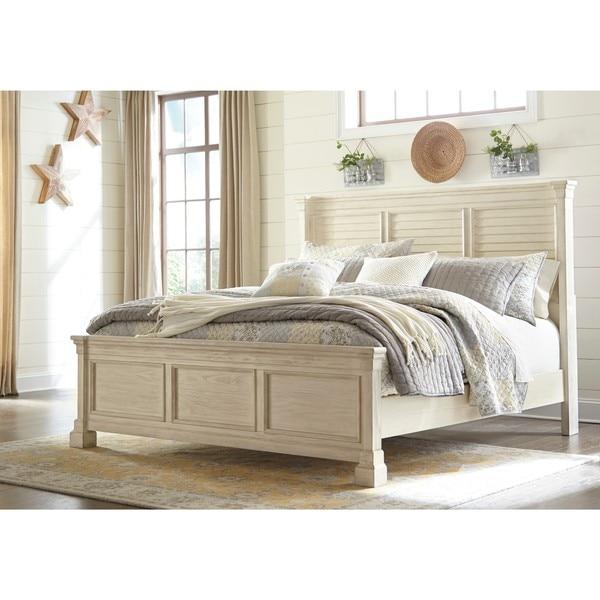 Bolanburg Antique White Louvered Panel Bed