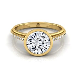 14k Yellow Gold IGI-certified 1 1/10ct TDW Round Diamond Bezel Solitaire Engagement Ring