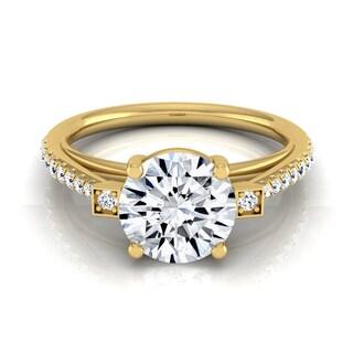 14k Yellow Gold IGI-certified 1 1/3ct TDW Round Diamond Pave Shank Engagement Ring (H-I, VS1-VS2)
