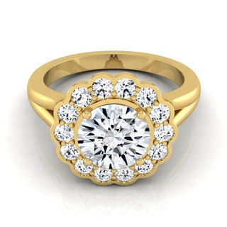 14k Yellow Gold IGI-certified 1 3/8ct TDW Round Diamond Floral Halo Engagement Ring (H-I, VS1-VS2)