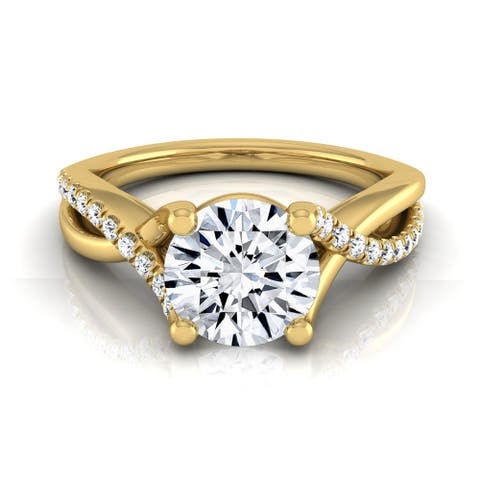 14k Yellow Gold IGI-certified 1 1/6ct TDW Round Pave Infinity Diamond Engagement Ring