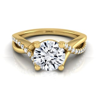 Link to 14k Yellow Gold IGI-certified 1 1/6ct TDW Round Pave Infinity Diamond Engagement Ring Similar Items in Rings