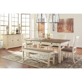 Signature Design by Ashley Bolanburg Two-tone Dining Room Table with Chairs and Dining Bench Set