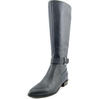 Nine West Women's Contigua Wide Calf Blue Leather Boots