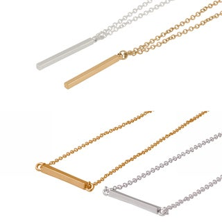 Yellow Gold Over Silver Bar Necklace