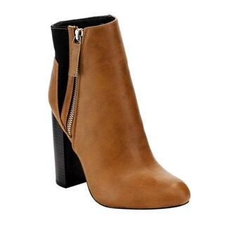 C Label Women's AE36 Tan Faux Suede and Faux Leather Assorted Gored Side-zipper Chunky-heel Ankle Dress Booties