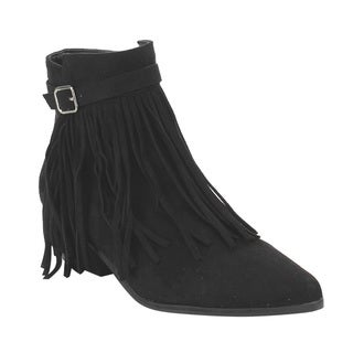 C Label Women's AE32 Fringe Zipper Buckled Low Block Heel Dress Ankle Booties