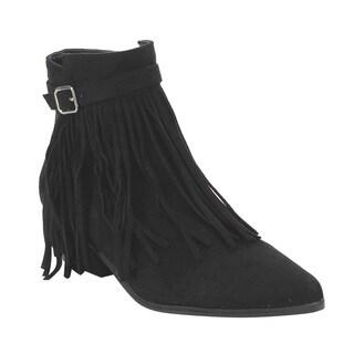 C Label Women's AE32 Fringe Zipper Buckled Low Block Heel Dress Ankle Booties