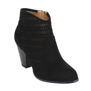 DBDK Women's Black Faux-suede Perforated Stacked Block Heel Ankle Booties